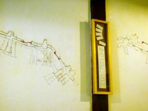 福嶋屋さんの壁にワイヤーアート