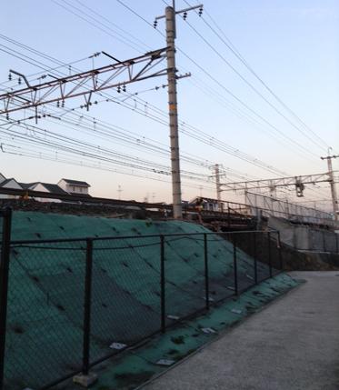 JRの線路沿いの道