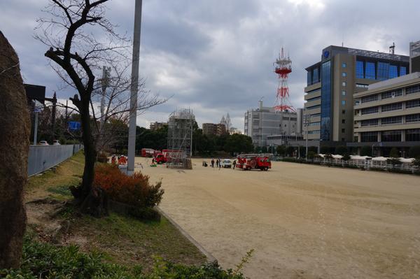 茨木消防の出初式準備中