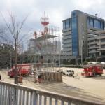 茨木消防出初式で足場の準備