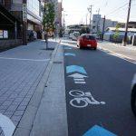 わっ、ここの自転車通行レーンがカワイイッ。他はどうだ?!