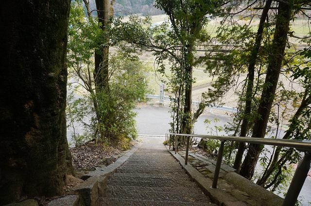 4見山の郷神社の階段見下ろすDSC05168