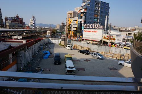 JR茨木東口工事を上から(東側)
