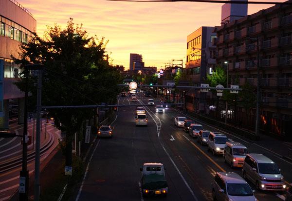 茨木郵便局前の夕焼け