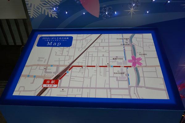 JR茨木駅の光の回廊マップ