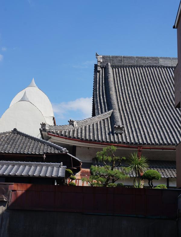 別院の屋根が西側から見える