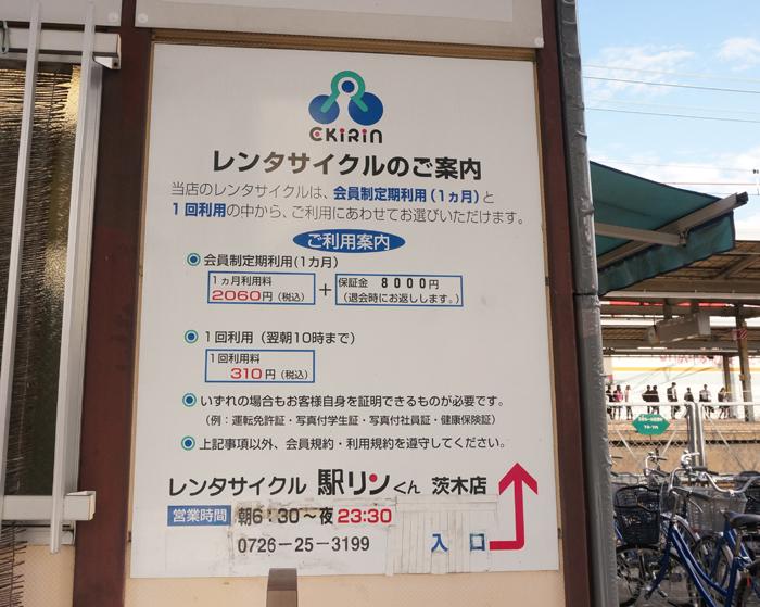 JR茨木駅レンタサイクル貸し出しについて