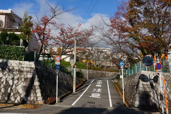 山手台の住宅地の坂道