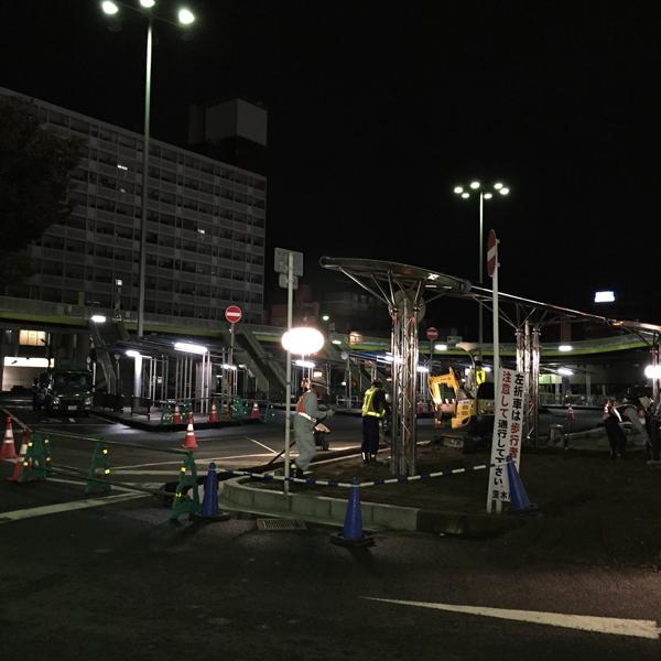 JR茨木西ロータリー夜工事
