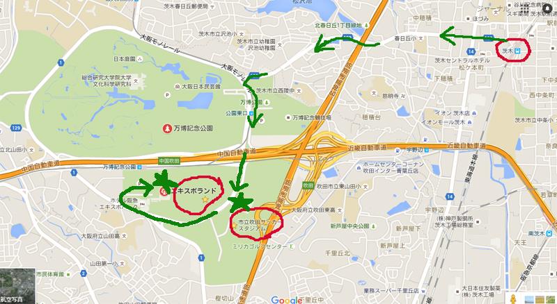 JR茨木からガンバ新スタへのマップ