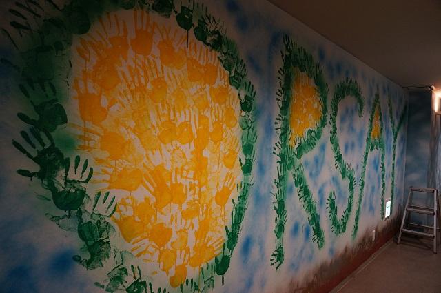 オルセーカラオケの壁紙に手形