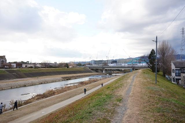 千歳橋から安威川沿いに北へ行く土手DSC03458