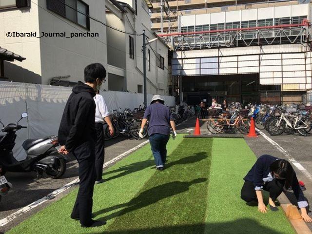 芝生広場で芝生を敷くIBALAB+